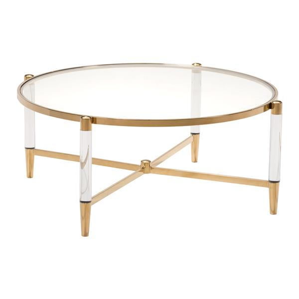Zuo Modern Existential 40 In X 16 In Round Coffee Table With Gold