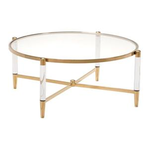 Zuo Modern Existential 40-in x 16-in Round Coffee Table with Gold Accent Base And Tempered Glass Top