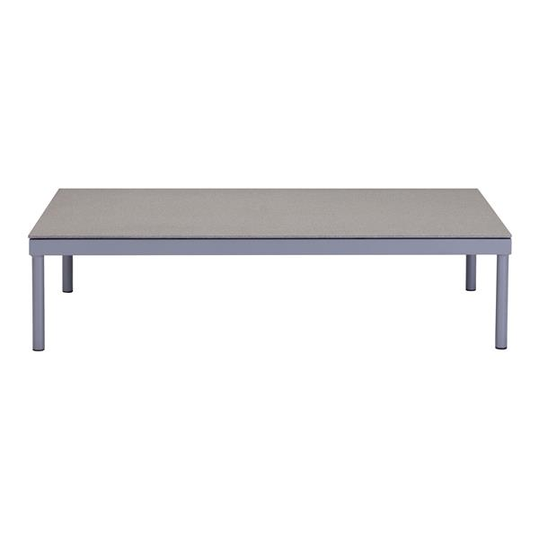 Zuo Modern Sand Beach Coffe Table 47-in L Grey Powder Aluminum and Granite Finished Tempered Glass Top