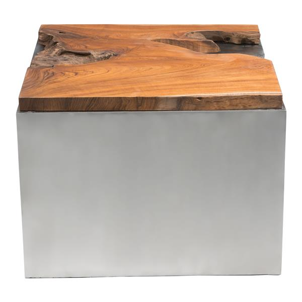 Zuo Modern Luxe Square Coffee Table 23.6- in x 23.6- in x 19.3- in With Polished Stainless Steel Base and Teak Wood Top