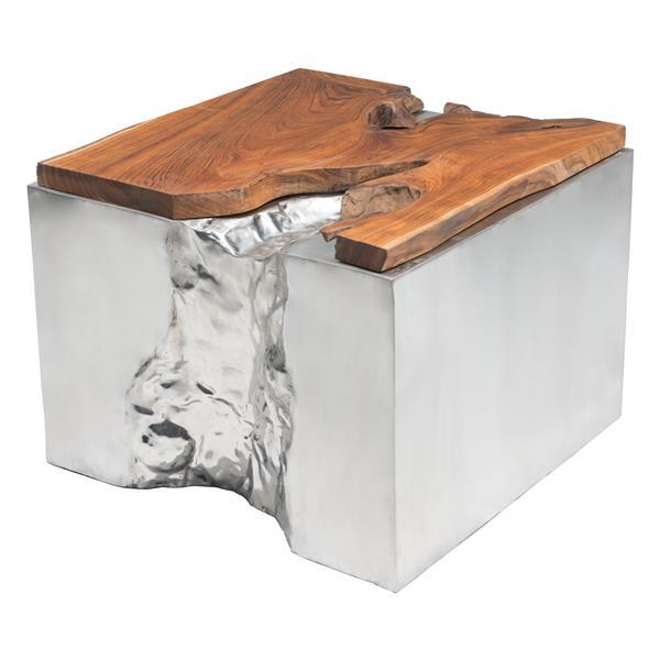 Table basse Luxe de Zuo Modern, 23,6 po x 19,3 po, base en acier inoxydable poli, bois de teck