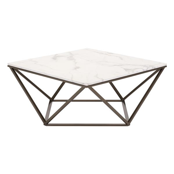 Zuo Modern Tintern Coffee Table - 36-in x 36-in x 16.5-in - Antique Brass Metal Frame - White