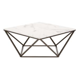 Zuo Modern Tintern 36-in x 36-in x 16.5-in With Antique Brass Metal Frame and Off White Faux Marble Top Square Coffee Table
