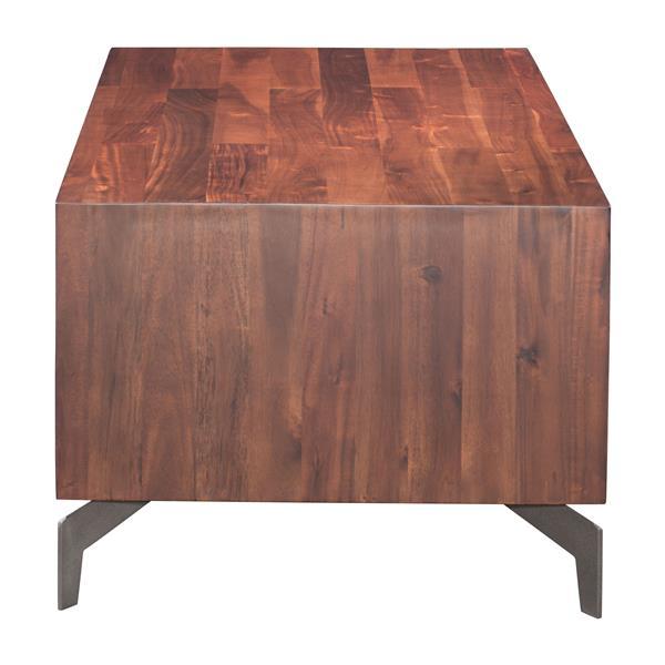 Table basse en bois d'acacia Perth de Zuo Modern, 47,2 po x 23,6 po x 18,1 po, brun