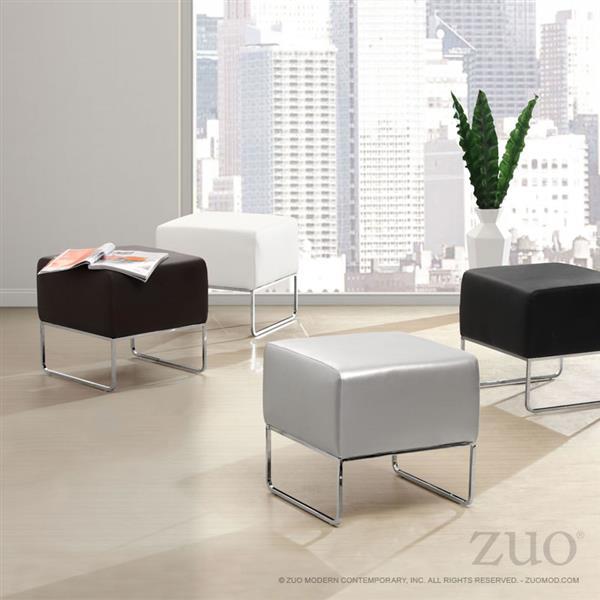 Zuo Modern Plush 18-in x 18.5-in x 18-in Silver Square Ottoman