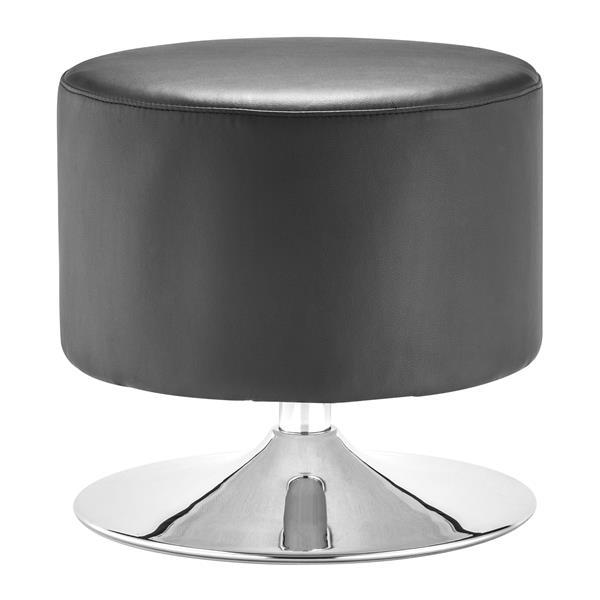 Zuo Modern Plump 18-in x 18-in x 18.6-in Black Round Ottoman