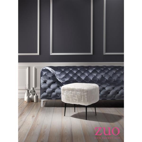 Tabouret Fuzz de Zuo Modern, 20,7 po x 17,7 po x 19,7 po, blanc