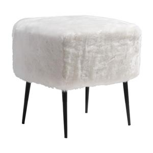 Zuo Modern 20-in x 17.7-in x 19.7-in White Square Fuzz Stool