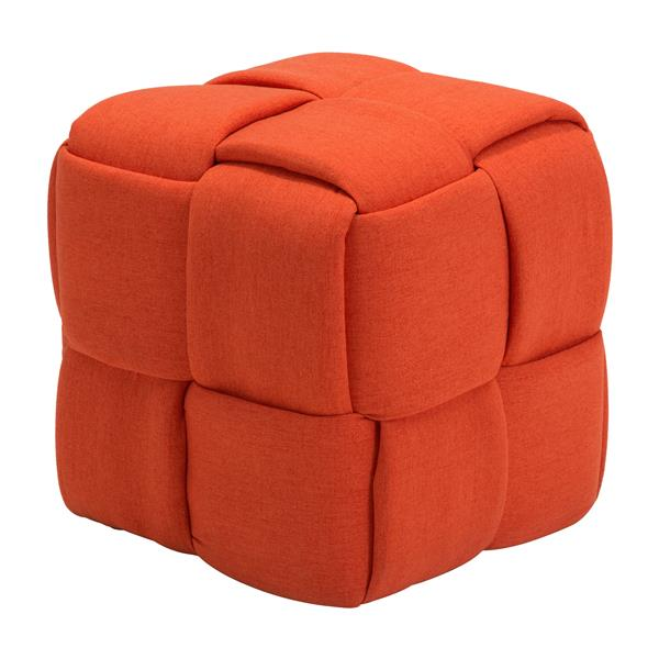 Zuo Modern Checks 19.7-in x 19.7-in x 19.7-in Orange Square Stool