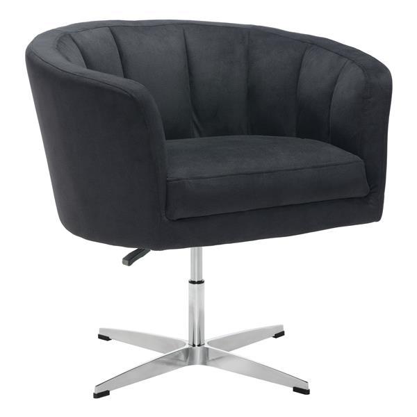Fauteuil d'appoint Wilshire de Zuo Modern, 32,1 po x 26 po x 31,5 po, noir