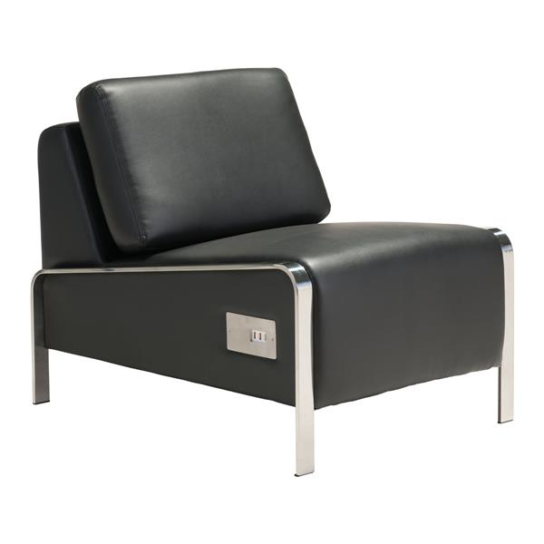 Zuo Modern Thor 24-in x 34-in x 27-in Black Armless Chair