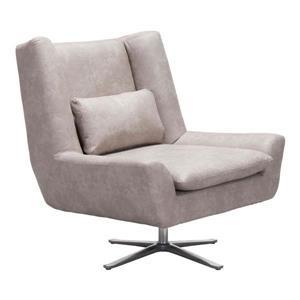 Fauteuil d'appoint Enzo de Zuo Modern, 34,6 po x 32,3 po, gris pâle