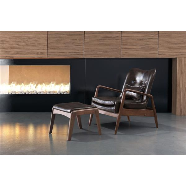 Zuo Modern 30.3-in x 33.5-in x 32.7-in Brown Bully Lounge Chair and Ottoman