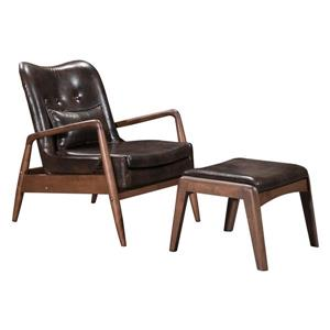 Zuo Modern Bully Lounge Chair with Ottoman - 30.3-in x 33.5-in - Brown