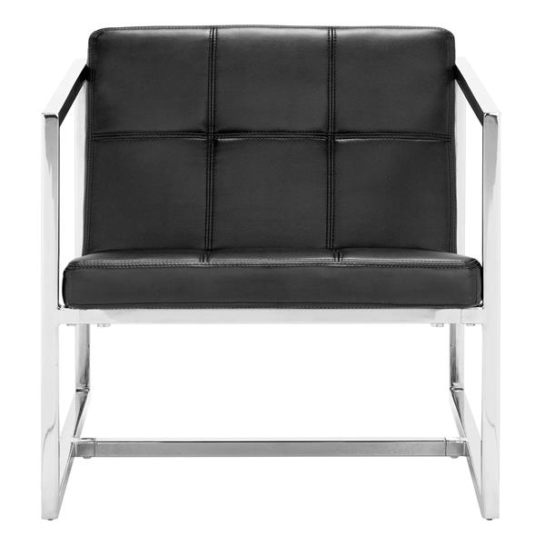 Zuo Modern 25-in x 28.3-in x 26.4-in Black Carbon Accent Chair