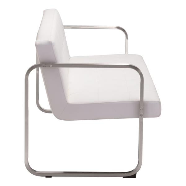 Canapé Varietal de Zuo Modern, 64,6 po x 29,9 po x 29,9 po, simili-cuir, blanc