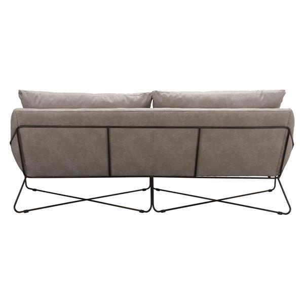 Zuo Modern Finn 86.6-in x 34.6-in x33.9-in Gray Faux Leather Sofa