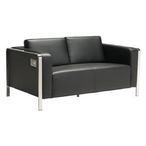 Zuo Modern Thor 56-in x 34-in x 27-in Black Faux Leather Sofa