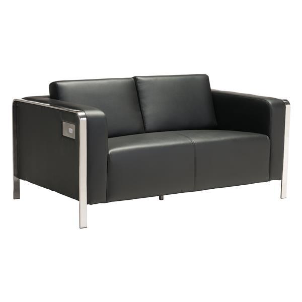 Canapé Thor de Zuo Modern, 56 po x 34 po x 27 po, simili-cuir, noir