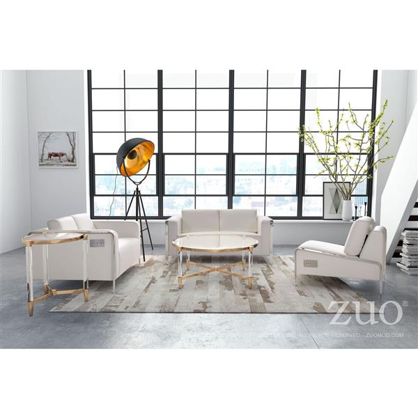 Zuo Modern Thor 56-in x 34-in x 27-in White Faux Leather Sofa