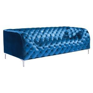 Zuo Modern Providence 85-in x 36.5-in x 28-in Blue Velvet Sofa