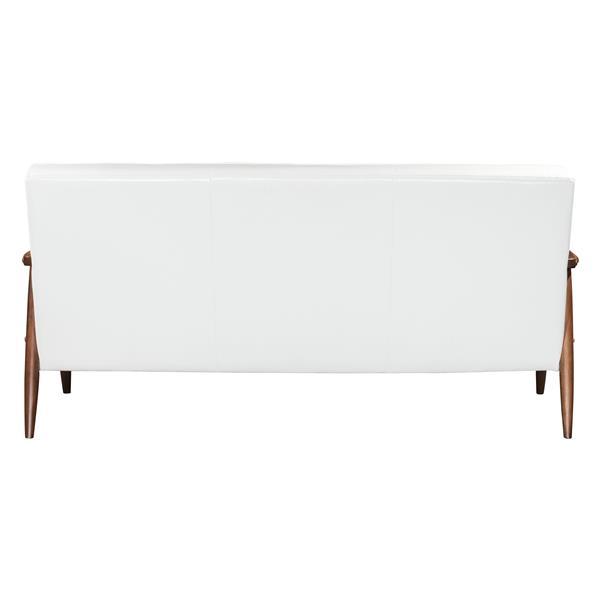 Zuo Modern Rocky 68.5-in x 32.1-in x 32.9-in White Faux Leather Sofa
