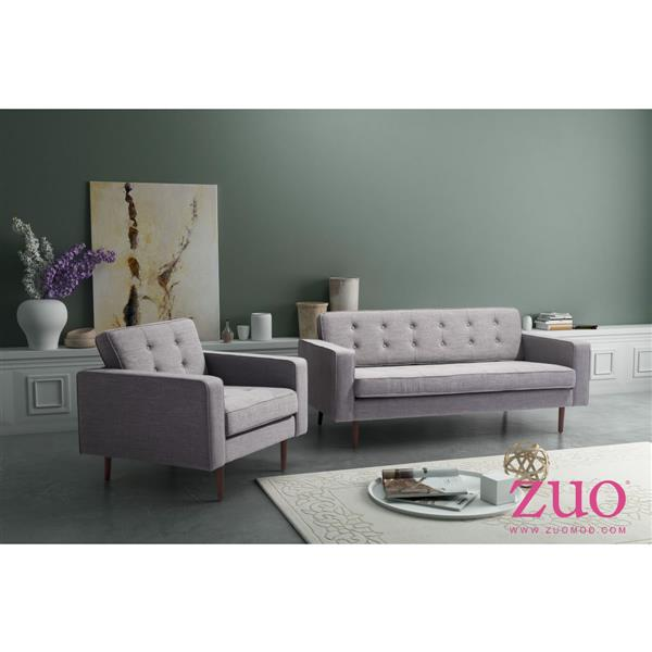 Zuo Modern Puget 70-in x 32.7-in x 32.3-in Gray Cotton Sofa