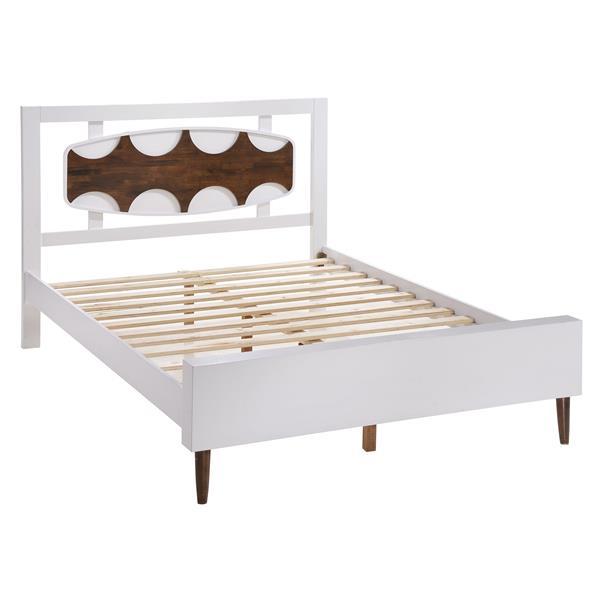 Base de lit Seattle de Zuo Modern, très grand lit, 62,8 po x 86,4 po x 47 po, blanc/noyer