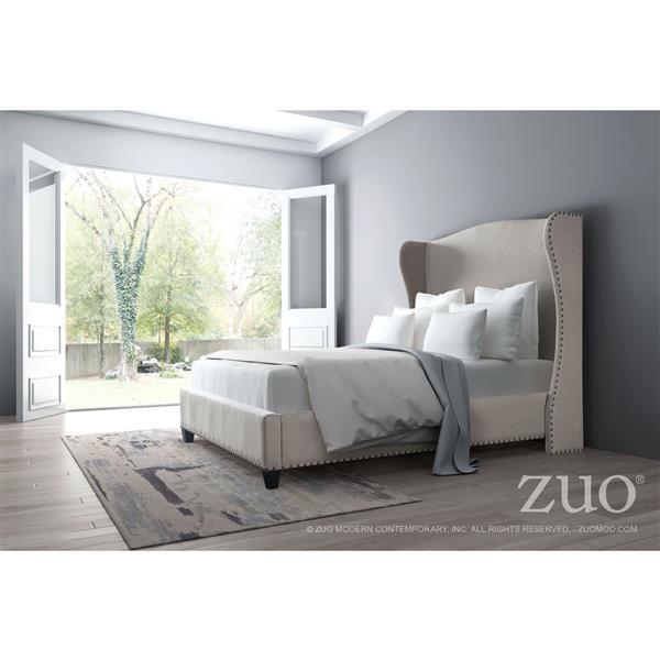 Zuo Modern Beige 69-in X 88.60-in Queen bed