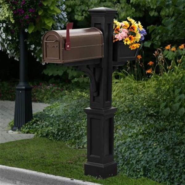 Mayne Executive 3.42-ft Black Westbrook In-Ground Mailbox Post