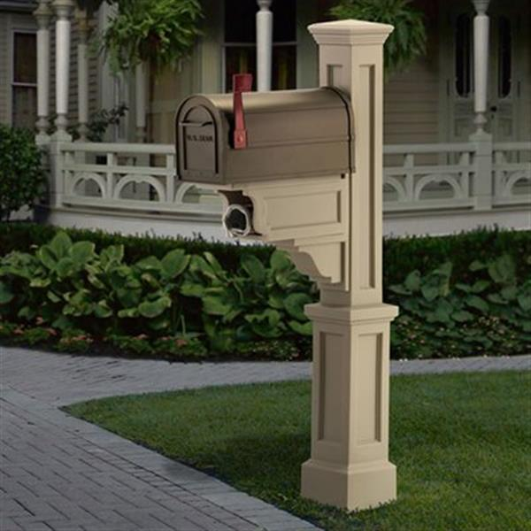 Mayne Executive 2.17-ft Beige Dover Mailbox Post