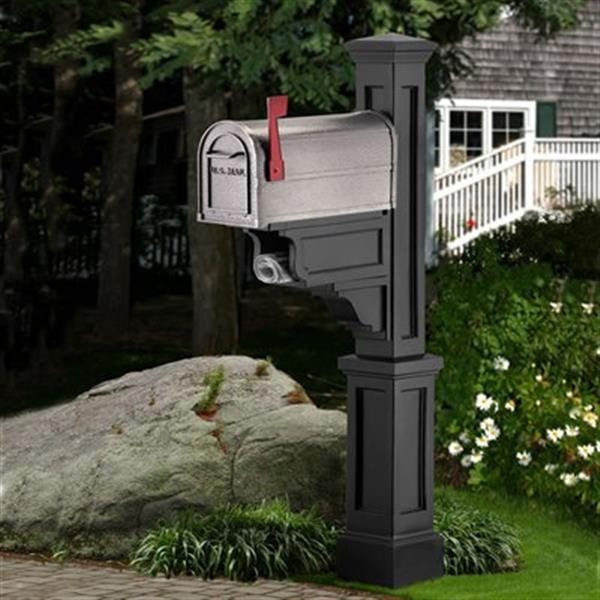 Mayne Executive 2.17-ft Black Dover Mailbox Post