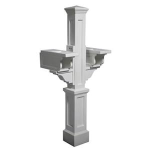 Mayne Executive Rockport 2-ft White In Ground Double Mailbox Post