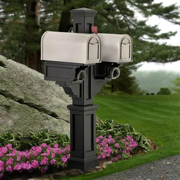 Mayne Rockport In Ground Double Mailbox Post 2-ft - Black