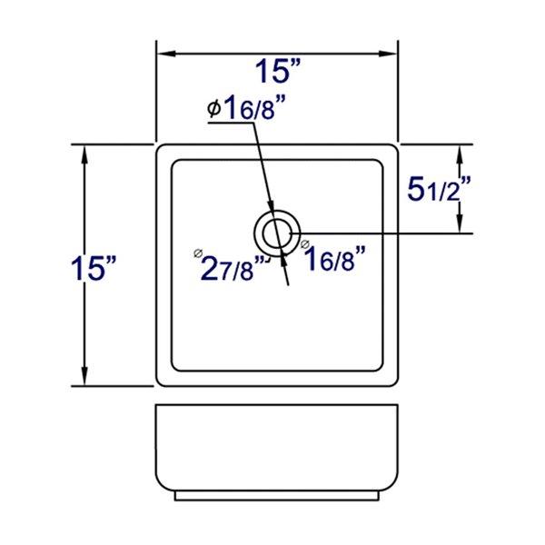 EAGO 15-in White Square Counter Top Vessel Sink