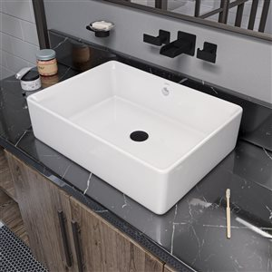 EAGO 14.12-in White Rectangular Counter Top Vessel Sink