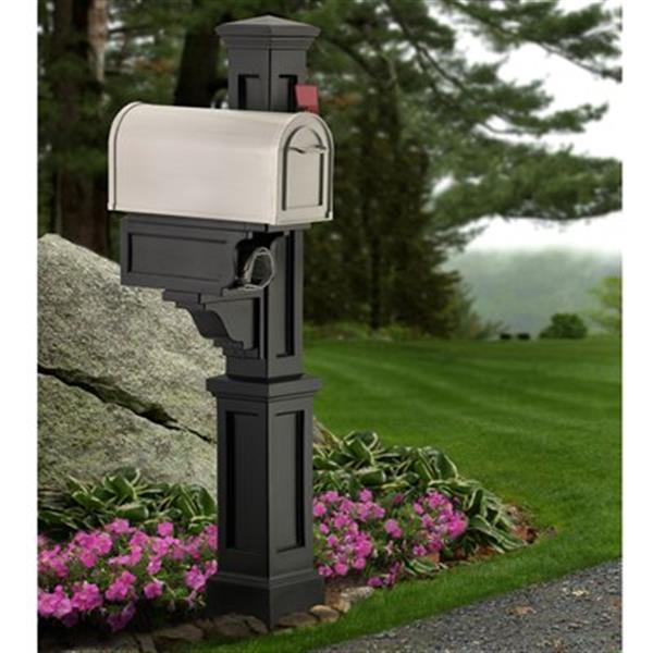 Mayne Rockport 1-ft Black In Ground Mailbox Post