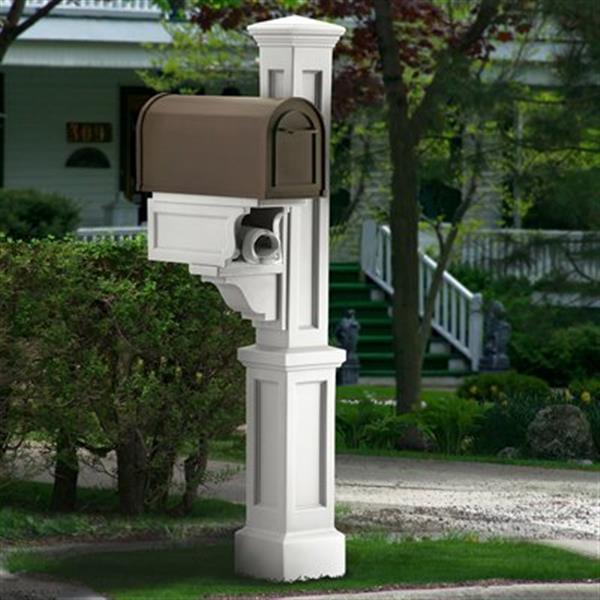 Mayne Rockport 1-ft White In Ground Mailbox Post
