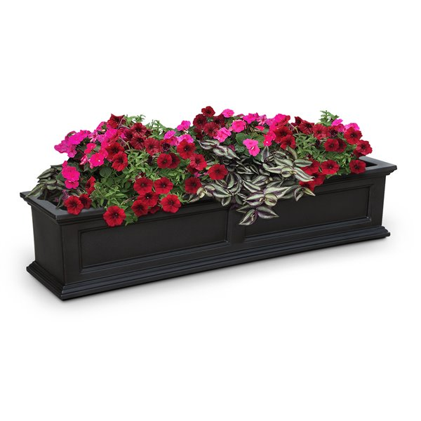 Mayne Fairfield Rectangle Window Box - 5-ft - Black