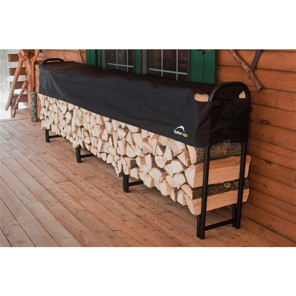 ShelterLogic Heavy Duty Firewood Rack with Cover - 12-ft - Black