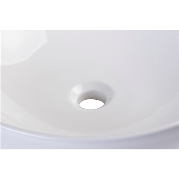 EAGO 17.88-in White Round Porcelain Basin Vessel Sink