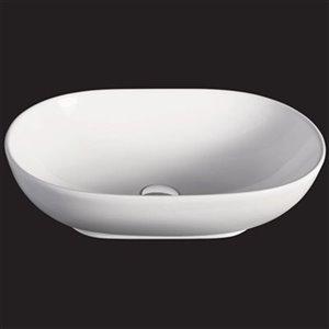EAGO 14.25-in White Oval Porcelain Basin Vessel Sink