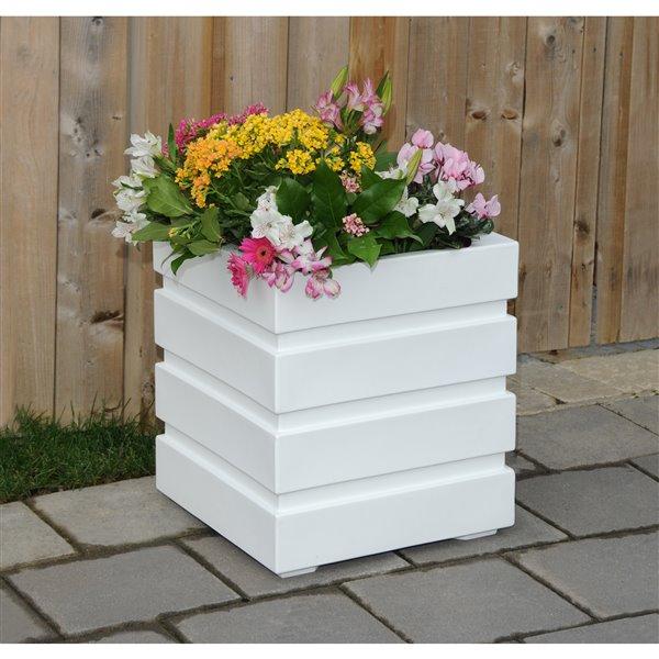 Mayne Freeport Patio Planter - 18-in x 18-in - White