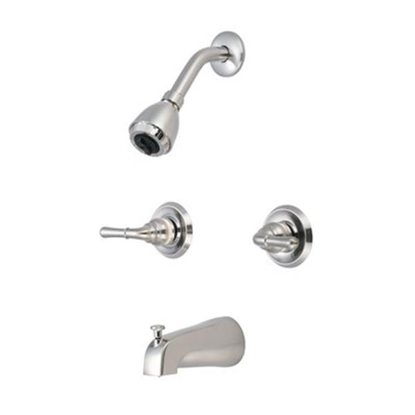 Olympia Faucet Accent PVD Brushed Nickel Two-Handle Tub/Shower Set
