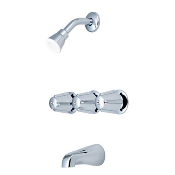 Olympia Faucet Elite Chrome Three-Handle Tub/Shower Set