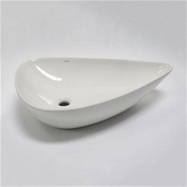EAGO 17.75-in White Tear Drop Ceramic Above Mount Bath Sink