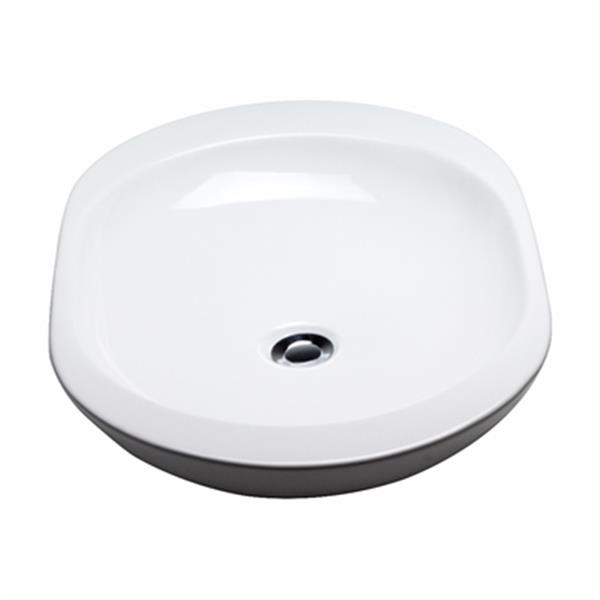 Acri-tec Industries 16.25-in White Counter Top Ceramic Oval Vessel Sink