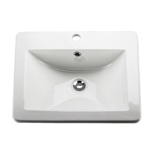 Lavabo de salle de bain Acri-Tec, céramique blanche