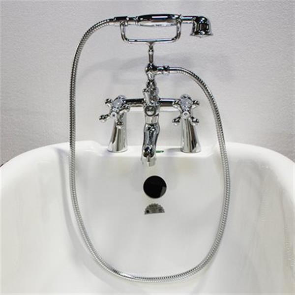 Acri-tec Industries 5.7-in ChromeCross Handle Deck Mount Tub Faucet