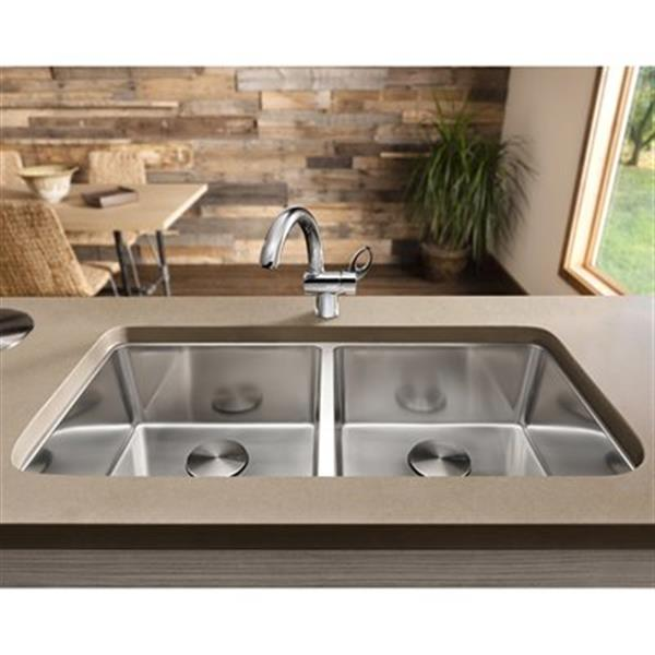Blanco Andano 34-in x 17.75-in x 7.50-in Stainless Steel Undermount Double Equal Bowl Kitchen Sink